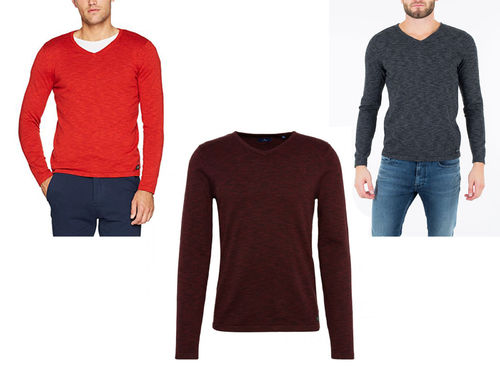 Tom Tailor Herren Pullover Langarmshirt Basic V-Neck sweater
