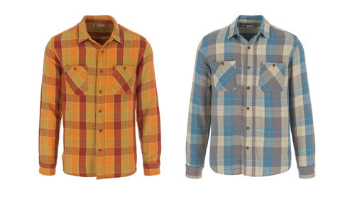 Tellason Utility Flannel Hemd Shirts Orange-Rot/ Blue Beige Gr. L