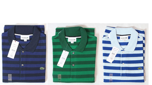Lacoste Herren Polo Shirt Tshirt Regular Fit gestreift blau grün