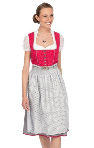 Stockerpoint Damen Midi Dirndl 2tlg 65cm Wally beere grau